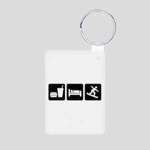 Eat Sleep Snowboard Aluminum Photo Keychain