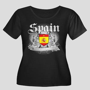 Spain World Cup Soccer Women's Plus Size Scoop Nec