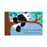 Panda loves libraries 35x21 Wall Decal