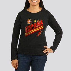 Spain World Cup Soccer Women's Long Sleeve Dark T-