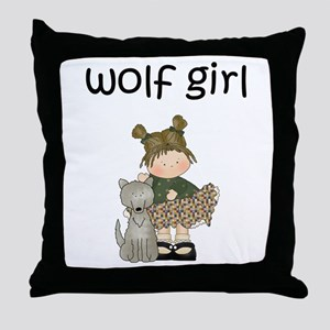 Wolf Girl Throw Pillow