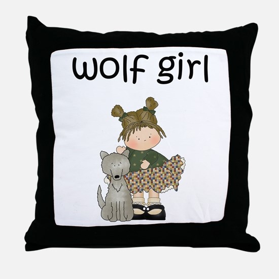 Wolf Girl Throw Pillow