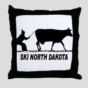 Ski North Dakota Throw Pillow