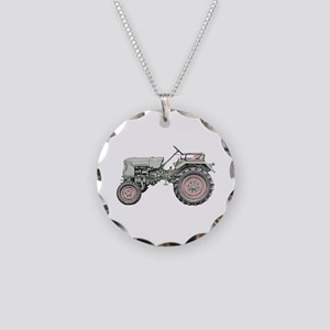 Antique Tractor in color Necklace Circle Charm