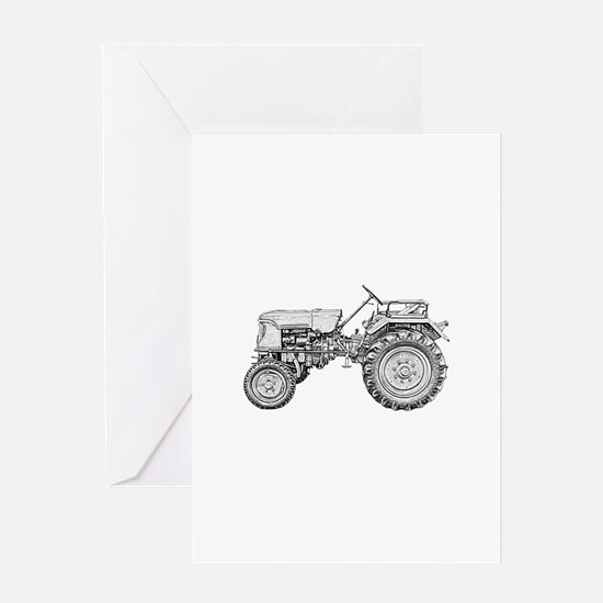 Antique Tractor in b&w Greeting Card