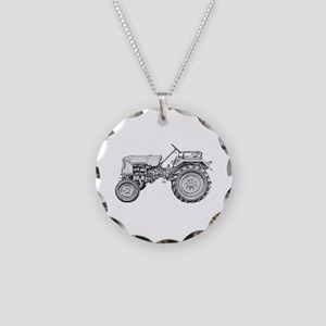 Antique Tractor in b&w Necklace Circle Charm