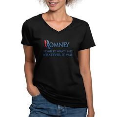 Anti-Romney: Whatever I Said Women's V-Neck Dark T