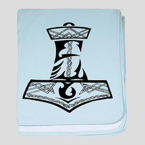 Black Celtic Thors Hammer baby blanket