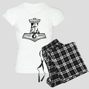 Black Celtic Thors Hammer Women's Light Pajamas