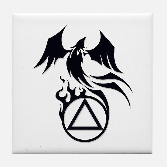 A.A. Logo Phoenix B&W - Tile Coaster