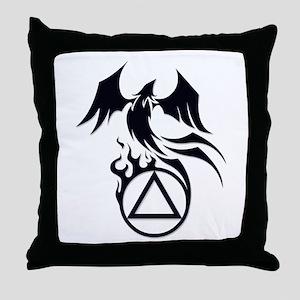 A.A. Logo Phoenix B&W - Throw Pillow