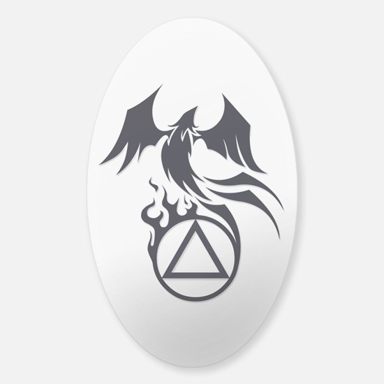 A.A. Logo Phoenix B&W - Sticker (Oval)