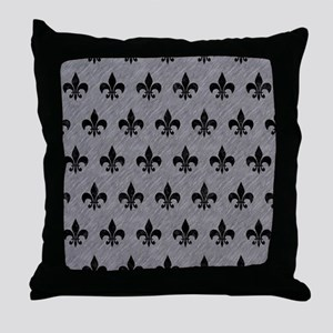 ROYAL1 BLACK MARBLE & GRAY COLORED PE Throw Pillow