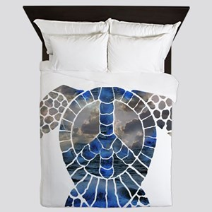 Sea Turtle Peace Queen Duvet