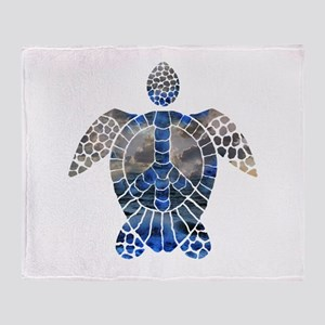 Sea Turtle Peace Throw Blanket