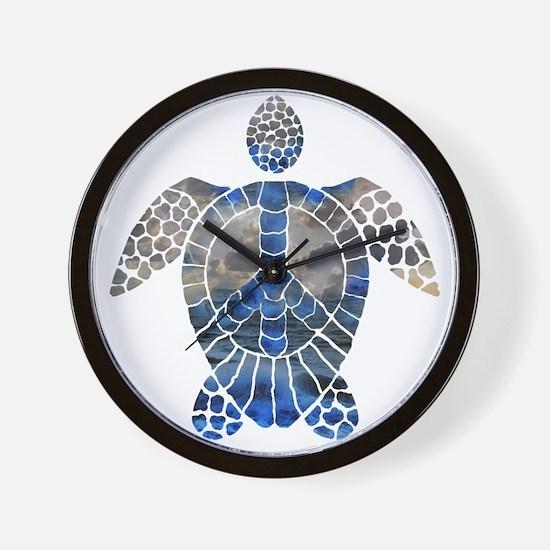 Sea Turtle Peace Wall Clock