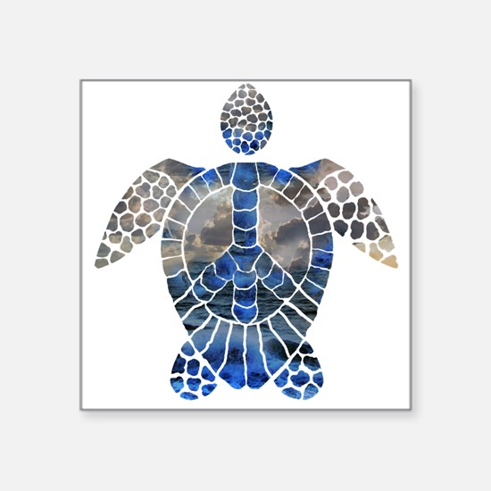 "Sea Turtle Peace Square Sticker 3"" x 3"""