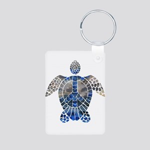 Sea Turtle Peace Aluminum Photo Keychain