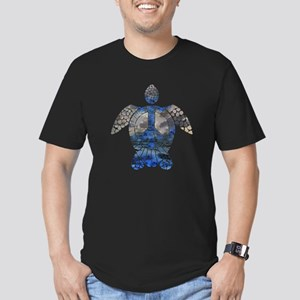 Sea Turtle Peace Men's Fitted T-Shirt (dark)