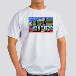 Fort Riley Kansas (Front) Ash Grey T-Shirt
