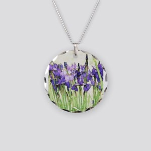 Irises Necklace Circle Charm