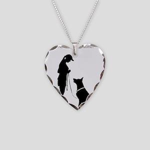 German Shepherd Silhouette Necklace Heart Charm