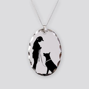 German Shepherd Silhouette Necklace Oval Charm