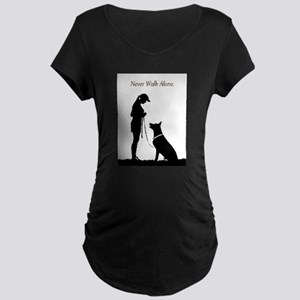 German Shepherd Silhouette Maternity Dark T-Shirt