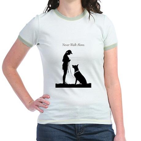 German Shepherd Silhouette Jr. Ringer T-Shirt