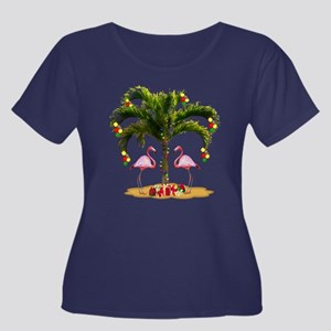 Tropical Women's Plus Size Scoop Neck Dark T-Shirt