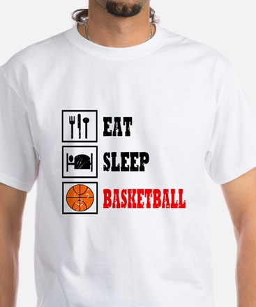 Eat Sleep Basketball White T-Shirt
