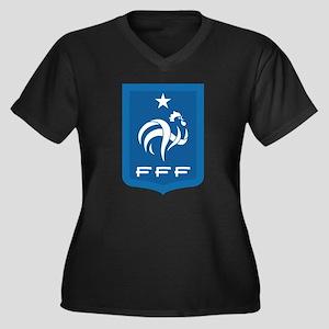 France Women's Plus Size V-Neck Dark T-Shirt