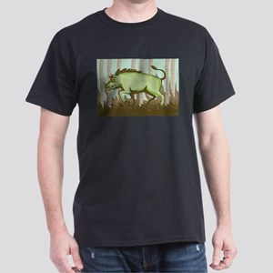 Razorback Wild Pig Boar Attacking Dark T-Shirt