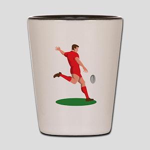 Rugby player kicking ball Shot Glass