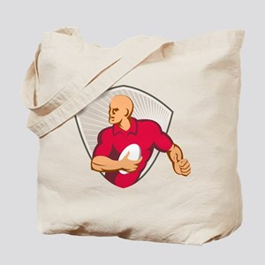 Rugby player with ball shield Tote Bag