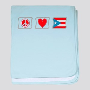 Peace, Love and Puerto Rico baby blanket