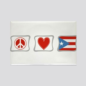 Peace, Love and Puerto Rico Rectangle Magnet