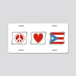 Peace, Love and Puerto Rico Aluminum License Plate