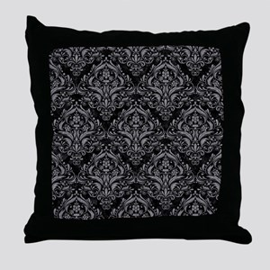 DAMASK1 BLACK MARBLE & GRAY COLORED P Throw Pillow