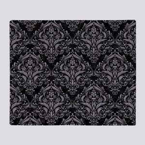 DAMASK1 BLACK MARBLE & GRAY COLORED Throw Blanket