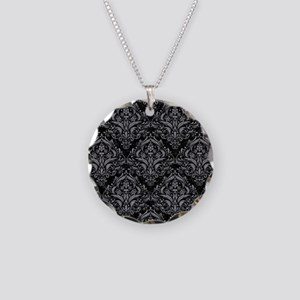 DAMASK1 BLACK MARBLE & GRAY Necklace Circle Charm