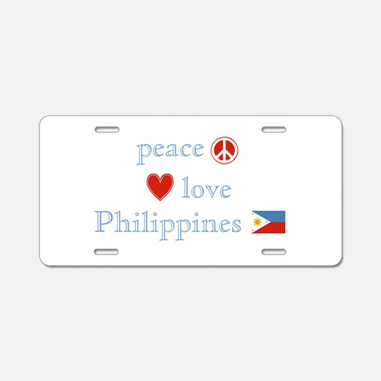 Peace, Love and Philippines Aluminum License Plate