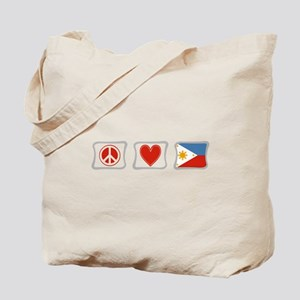 Peace, Love and Philippines Tote Bag