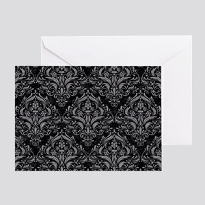 DAMASK1 BLACK MARBLE & GRAY COLORED Greeting Card