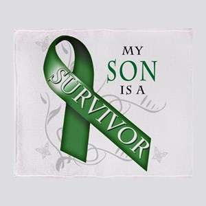My Son is a Survivor (green) Throw Blanket