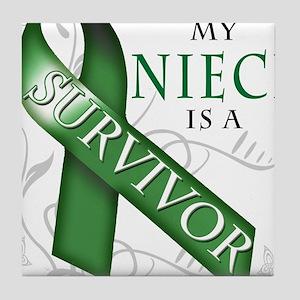My Niece is a Survivor (green) Tile Coaster