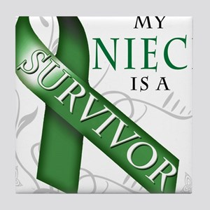 My Niece is a Survivor (green).png Tile Coaster