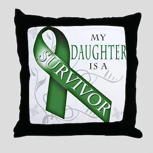 My Daughter is a Survivor (green) Throw Pillow