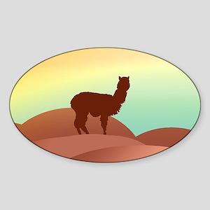 alpaca landscape Oval Sticker