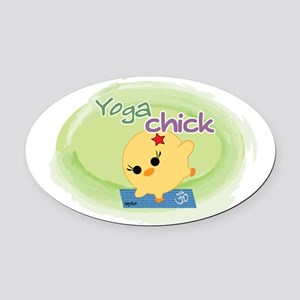 Yoga Chick Oval Car Magnet
